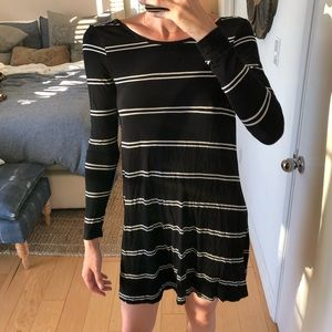 Black and white striped low-back/backless dress